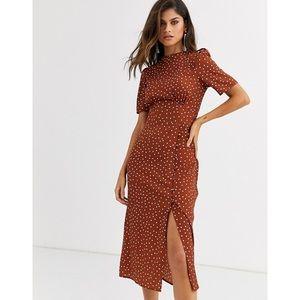 Asos Design NWT Midi Orange Polka Dot Tea Dress